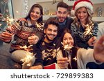 smiling friends celebrating... | Shutterstock . vector #729899383