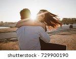 happy couple has fun outdoors...   Shutterstock . vector #729900190