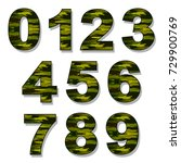 numbers military camouflage | Shutterstock . vector #729900769