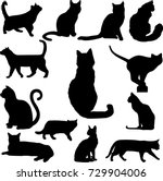 Set Of Black Cats Silhouettes...