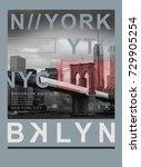photo print new york brooklyn... | Shutterstock . vector #729905254