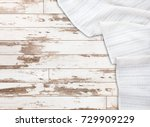 white tablecloth on wooden... | Shutterstock . vector #729909229