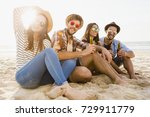 friends having fun together at...   Shutterstock . vector #729911779