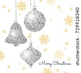 merry christmas background with ... | Shutterstock .eps vector #729918340