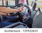 hands of driver in a modern bus ... | Shutterstock . vector #729922819