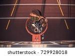 top view of handsome basketball ... | Shutterstock . vector #729928018