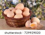 Eggs In A Wicker Basket On A...