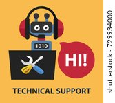 technical support flat concept. ... | Shutterstock .eps vector #729934000