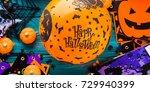 halloween decoration symbols on ... | Shutterstock . vector #729940399