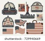 vector set of american symbols... | Shutterstock .eps vector #729940669