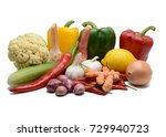 vegetables isolated on a white... | Shutterstock . vector #729940723