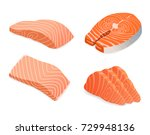 Stock vector red fish salmon for sushi food menu vector illustration isolated white background 729948136