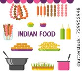 indian food  dishes and... | Shutterstock .eps vector #729952948