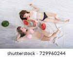 two beautiful girlfriends...   Shutterstock . vector #729960244