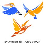 stylized birds   kingfishers in ... | Shutterstock .eps vector #729964924