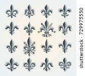 fleur de lis vintage symbols... | Shutterstock .eps vector #729975550