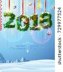 new year 2018 of twigs like... | Shutterstock .eps vector #729977524