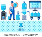 water delivery service man... | Shutterstock .eps vector #729980599