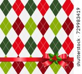 xmas tartan background with... | Shutterstock . vector #729983419