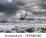 sailing old ship in storm sea  | Shutterstock . vector #729988180