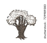 tree is a human hand  drawn in... | Shutterstock .eps vector #729989383