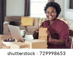 smiling young african woman... | Shutterstock . vector #729998653
