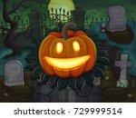 halloween pumpkin is smiling....   Shutterstock .eps vector #729999514