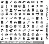 100 legal department icons set... | Shutterstock . vector #729999814