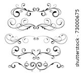 vector set of floral decorative ... | Shutterstock .eps vector #73000675