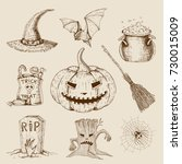 halloween hand drawn set with... | Shutterstock .eps vector #730015009