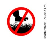 no step on the lawn grass... | Shutterstock .eps vector #730015174