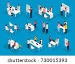 isometric people teamwork set... | Shutterstock .eps vector #730015393