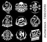 vintage white dragon tattoo... | Shutterstock .eps vector #730015450