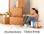 woman in a new home with... | Shutterstock . vector #730019548