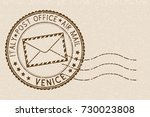 postal stamp with venice title. ... | Shutterstock .eps vector #730023808
