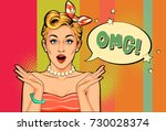 beautiful pin up fashion model... | Shutterstock .eps vector #730028374