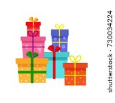 vector holiday present colored... | Shutterstock .eps vector #730034224