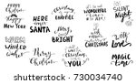 set of christmas lettering... | Shutterstock .eps vector #730034740