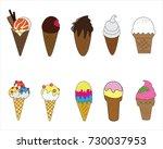 ice cream cone variety vector... | Shutterstock .eps vector #730037953