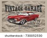 vintage garage.classic car | Shutterstock .eps vector #730052530