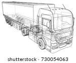 trailer truck. abstract drawing.... | Shutterstock .eps vector #730054063
