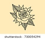 drawing sketch tattoo rose   Shutterstock .eps vector #730054294