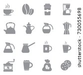 coffee icons. gray flat design. ... | Shutterstock .eps vector #730055698