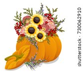 hand drawn pumpkin with flowers....