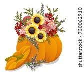 hand drawn pumpkin with flowers....   Shutterstock .eps vector #730062910