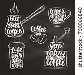 coffee lettering in cup ... | Shutterstock .eps vector #730066840