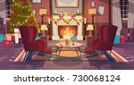 living room decorated for... | Shutterstock .eps vector #730068124