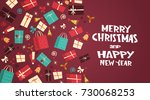 merry christmas and happy new...   Shutterstock .eps vector #730068253