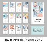 calendar 2018. printable... | Shutterstock .eps vector #730068976