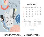 calendar 2018. january.... | Shutterstock .eps vector #730068988